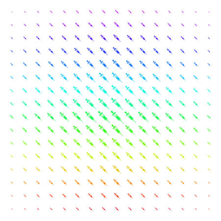 Syringe icon rainbow colored halftone pattern. Vector syringe items arranged into halftone grid with vertical spectrum gradient. Designed for backgrounds, covers and abstract compositions.