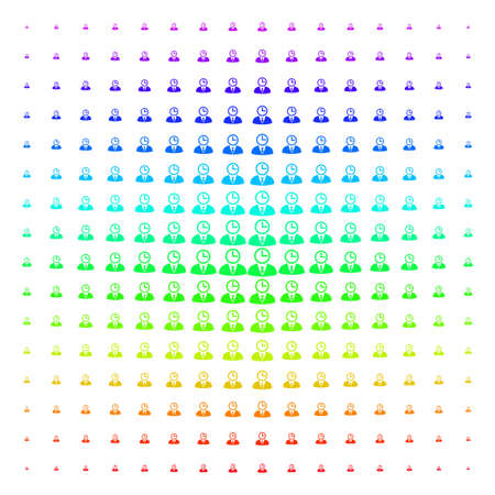Time Manager icon rainbow colored halftone pattern. Vector time manager objects arranged into halftone grid with vertical spectral gradient. Designed for backgrounds, covers and abstract effects.