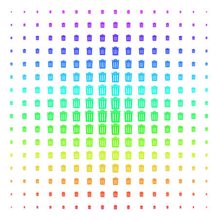 Trash Bin icon spectrum halftone pattern. Vector trash bin objects organized into halftone grid with vertical rainbow colors gradient. Designed for backgrounds, covers and abstraction compositions. Illustration