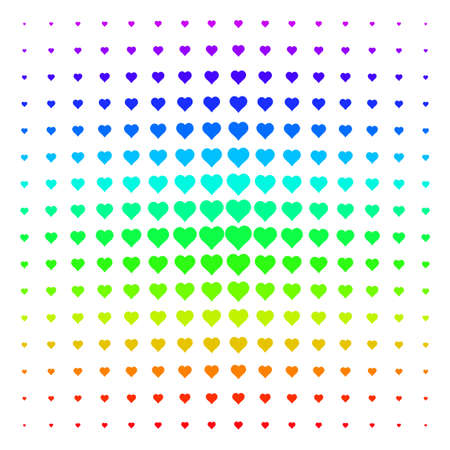 Valentine Heart icon spectrum halftone pattern. Vector valentine heart shapes organized into halftone grid with vertical spectral gradient. Designed for backgrounds, Illustration