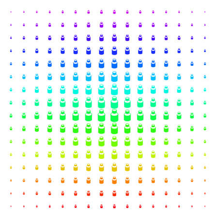 Vial icon rainbow colored halftone pattern. Vector vial objects organized into halftone grid with vertical spectrum gradient. Designed for backgrounds, covers and abstraction concepts. Ilustração