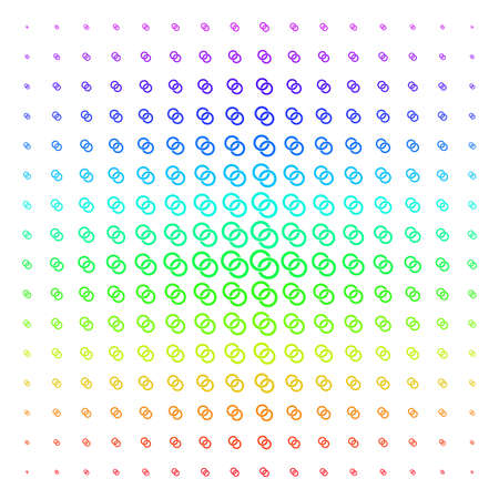 Wedding Rings icon rainbow colored halftone pattern. Vector wedding rings pictograms organized into halftone grid with vertical spectrum gradient. Designed for backgrounds,