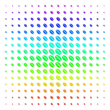 Wheat Seed icon rainbow colored halftone pattern. Vector wheat seed items organized into halftone grid with vertical spectral gradient. Designed for backgrounds, covers and abstract compositions.