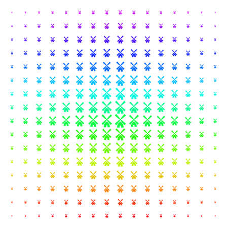 Wind Mill icon spectrum halftone pattern. Vector wind mill objects organized into halftone grid with vertical spectrum gradient. Designed for backgrounds, covers and abstract concepts.