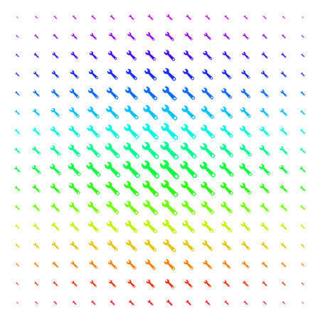 Wrench icon rainbow colored halftone pattern. Vector wrench objects arranged into halftone grid with vertical spectrum gradient. Designed for backgrounds, covers and abstraction concepts.