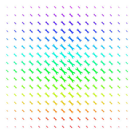 Wrench icon spectrum halftone pattern. Vector wrench objects arranged into halftone grid with vertical spectral gradient. Designed for backgrounds, covers and abstract compositions.