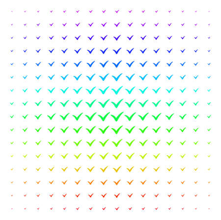 Yes icon spectrum halftone pattern. Vector yes shapes arranged into halftone grid with vertical spectral gradient. Designed for backgrounds, covers and abstraction compositions.