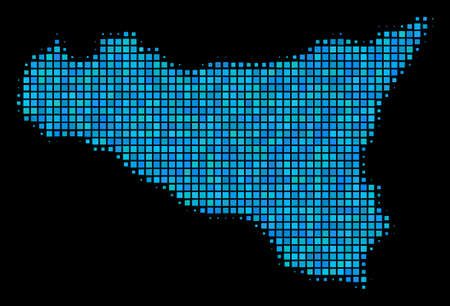 Halftone Dot Sicilia Map. Vector geographic map in blue color shades on a black background. Vector composition of Sicilia Map organized of square elements.