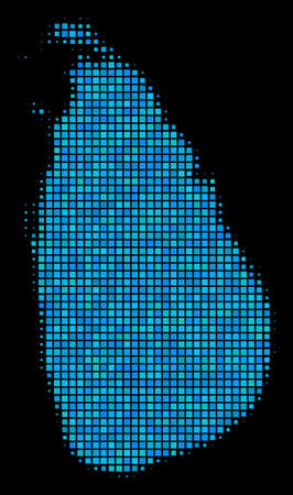 Halftone Dotted Sri Lanka Island Map. Vector geographic map in blue color tones on a black background. Vector collage of Sri Lanka Island Map organized of rectangle dots. Иллюстрация