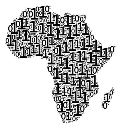 Africa Map mosaic icon of zero and null digits in different sizes. Vector digit are grouped into africa map composition design concept.