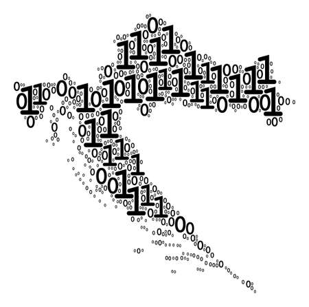 Croatia Map composition icon of zero and null digits in various sizes. Vector digit are organized into croatia map composition design concept.