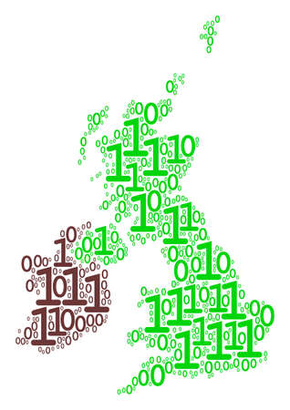 Great Britain And Ireland Map collage icon of zero and null digits in different sizes. Vector digit are combined into great britain and ireland map illustration design concept.
