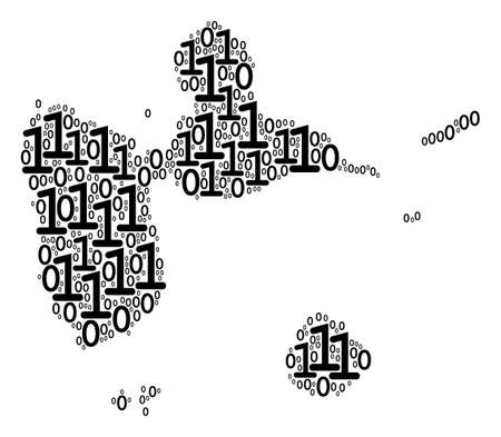 Guadeloupe Map collage icon of zero and null digits in variable sizes. Vector digital symbols are scattered into guadeloupe map collage design concept.