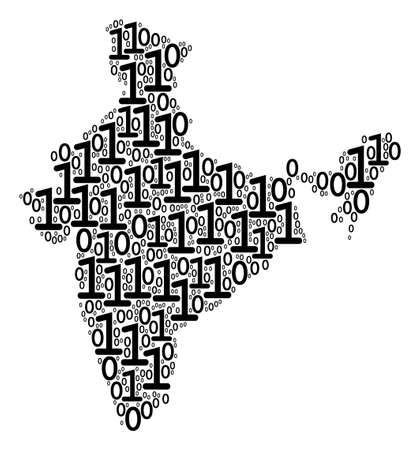India Map collage icon of zero and null digits in various sizes. Vector digital symbols are formed into India Map mosaic design concept.