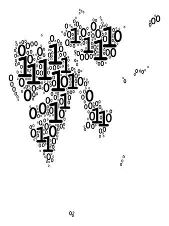 Svalbard Island Map composition icon of zero and one symbols in different sizes. Vector digits are formed into Svalbard Island Map illustration design concept.
