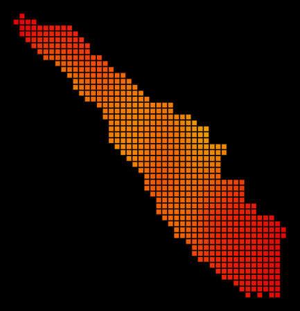 Dotted fire Sumatra Island Map Illustration