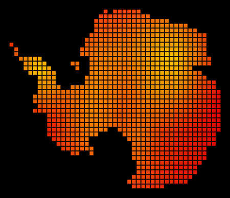 Pixelated fire Antarctica Map Illustration