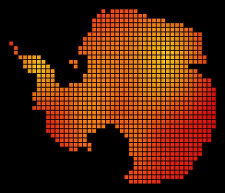 Pixelated fire Antarctica Map Illustration