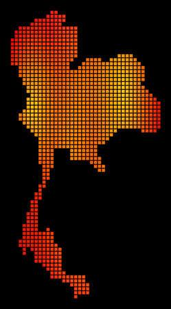 Dotted orange Thailand Map
