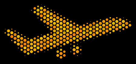Halftone hexagonal Aiplane icon. Bright gold pictogram with honey comb geometric pattern on a black background. Vector concept of aiplane icon done of hexagonal dots. Illustration