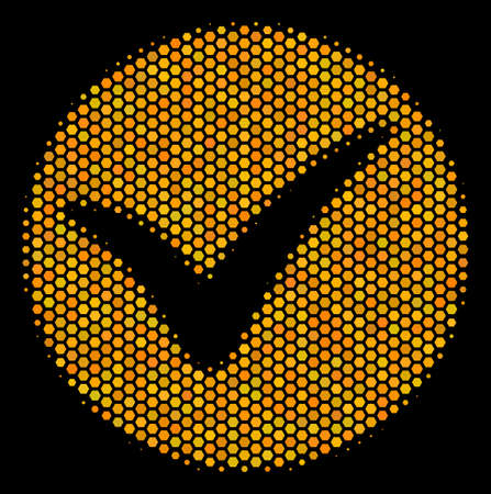 Halftone hexagonal Apply icon. Bright golden pictogram with honeycomb geometric pattern on a black background. Vector mosaic of apply icon done of hexagonal cells.