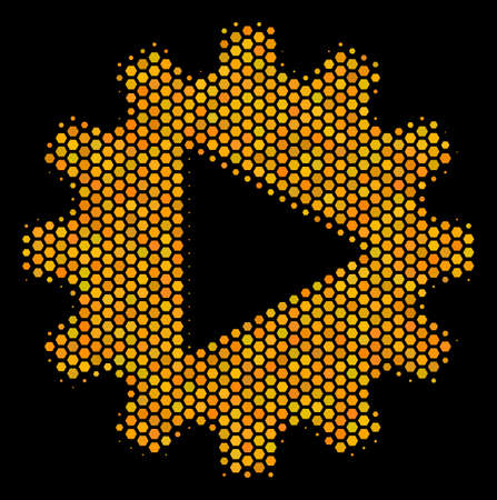 Halftone hexagonal Automation icon. Bright yellow pictogram with honey comb geometric pattern on a black background. Vector collage of automation icon done of hexagonal items.
