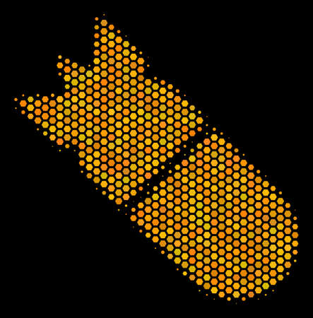 Halftone hexagonal Aviation Bomb icon. Bright yellow pictogram with honey comb geometric structure on a black background. Vector collage of aviation bomb icon constructed of hexagon dots. Vettoriali