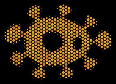 Halftone hexagon Bacteria icon. Bright golden pictogram with honey comb geometric structure on a black background. Vector pattern of bacteria icon organized of hexagon cells.