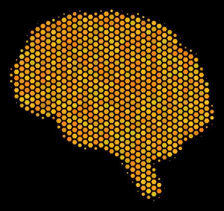 Halftone hexagonal Brain icon. Bright gold pictogram with honey comb geometric pattern on a black background. Vector composition of brain icon composed of hexagonal cells.