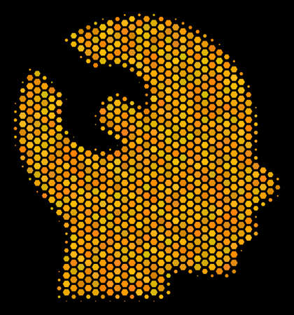 Halftone hexagon Brain Wrench Tool icon. Bright gold pictogram with honeycomb geometric pattern on a black background. Vector collage of brain wrench tool icon created of hexagon items. Illustration