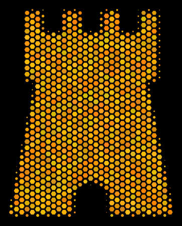 Halftone hexagonal Bulwark Tower icon. Bright yellow pictogram with honeycomb geometric structure on a black background. Vector collage of bulwark tower icon constructed of honeycomb pixels. Illustration