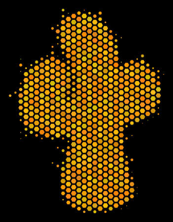 Halftone hexagonal Cacti icon. Bright gold pictogram with honeycomb geometric structure on a black background. Vector composition of cacti icon made of hexagon items.