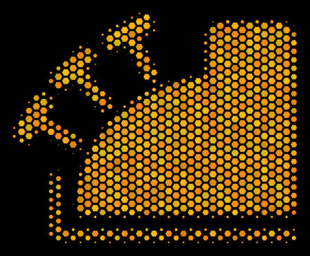Halftone hexagonal Cash Register icon. Bright yellow pictogram with honeycomb geometric structure on a black background. Vector mosaic of cash register icon combined of honeycomb spots.