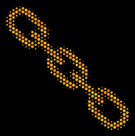 Halftone hexagon Chain icon. Bright gold pictogram with honey comb geometric pattern on a black background. Vector pattern of chain icon done of hexagonal dots.