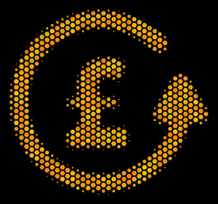 Halftone hexagonal Chargeback Pound icon. Bright yellow pictogram with honeycomb geometric pattern on a black background. Vector composition of chargeback pound icon composed of honeycomb blots.
