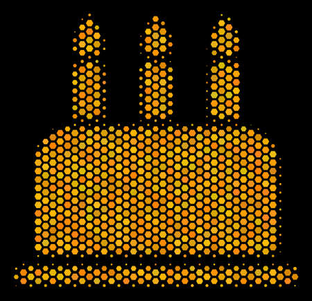 Halftone hexagon Birthday Cake icon. Bright gold pictogram with honey comb geometric structure on a black background. Vector mosaic of birthday cake icon done of hexagonal elements. Illustration