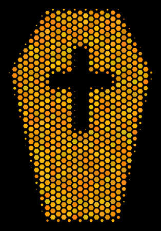 Halftone hexagon Coffin icon. Bright golden pictogram with honeycomb geometric structure on a black background. Vector pattern of coffin icon combined of hexagon items.