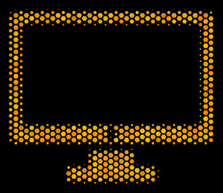 Halftone hexagon Computer Display icon. Bright yellow pictogram with honey comb geometric pattern on a black background. Vector collage of computer display icon composed of hexagon cells. Illusztráció