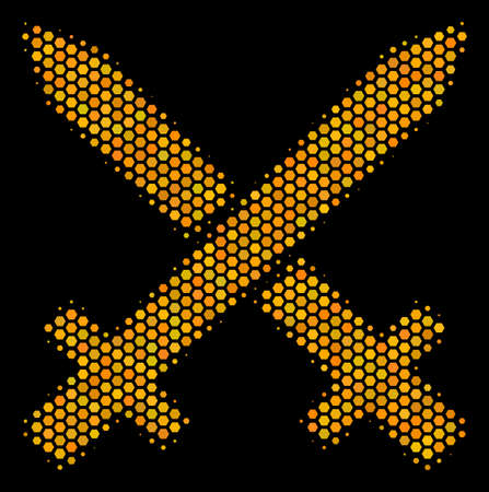 Halftone hexagon Crossing Swords icon. Bright yellow pictogram with honeycomb geometric structure on a black background. Vector pattern of crossing swords icon done of hexagonal dots. Vectores