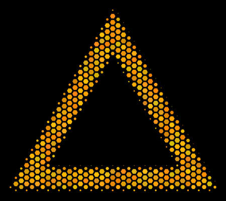 Halftone hexagonal Contour Triangle icon