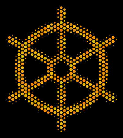Halftone hexagonal Boat Steering Wheel icon.