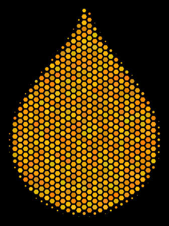 Halftone hexagon Drop icon. Bright golden pictograph with honey comb geometric pattern on a black background. A Vector pattern of drop icon designed of honeycomb dots.