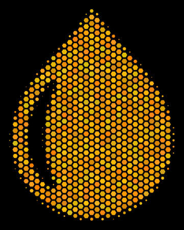 Halftone hexagonal Drop icon. Bright golden pictograph with honey comb geometric pattern on a black background. A Vector collage of drop icon composed of hexagonal spots. Illustration