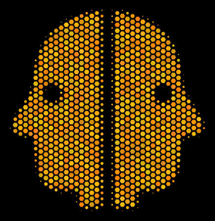 Halftone hexagonal Dual Face icon. Bright gold pictograph with honey comb geometric structure on a black background. A Vector mosaic of dual face icon composed of hexagonal cells. Çizim