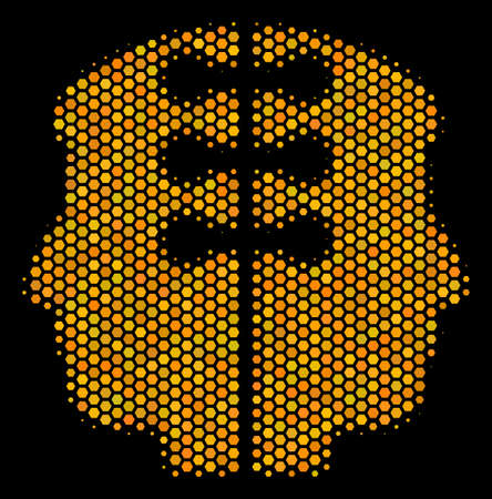Halftone hexagonal Dual Head Interface icon. Bright golden pictogram with honeycomb geometric structure on a black background.