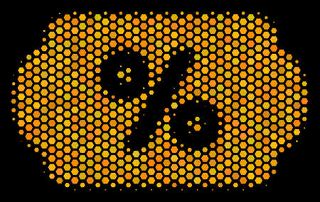 Halftone hexagon Discount Coupon icon. Bright yellow pictogram with honey comb geometric pattern on a black background. Vector mosaic of discount coupon icon done of hexagonal elements.