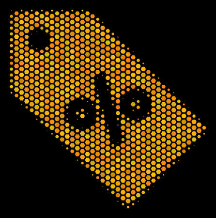 Halftone hexagonal Discount Tag icon. Bright gold pictogram with honey comb geometric structure on a black background. Vector mosaic of discount tag icon made of honeycomb pixels.