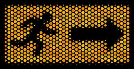 Halftone hexagon Emergency Exit icon. Bright golden pictograph with honey comb geometric structure on a black background. A Vector collage of emergency exit icon constructed of honeycomb cells. Illustration