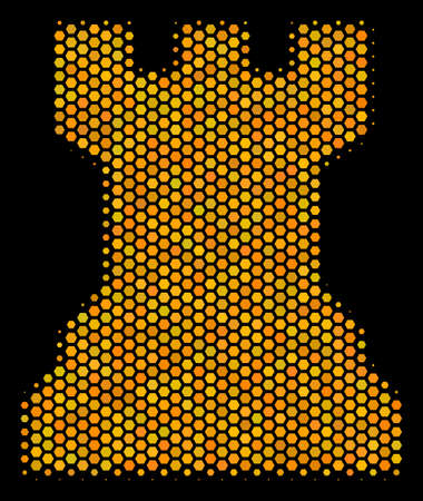 Halftone hexagonal Chess Tower icon. Bright golden pictogram with honey comb geometric pattern on a black background. Vector concept of chess tower icon done of hexagon pixels.