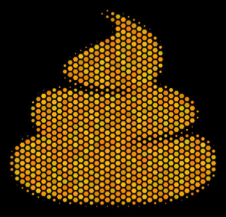 Halftone hexagonal Crap icon. Bright golden pictogram with honey comb geometric pattern on a black background. Vector concept of crap icon made of hexagonal items.